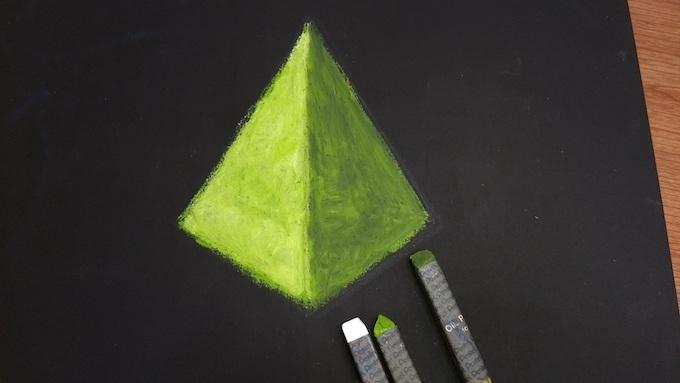 三角錐の影になる部分を着色