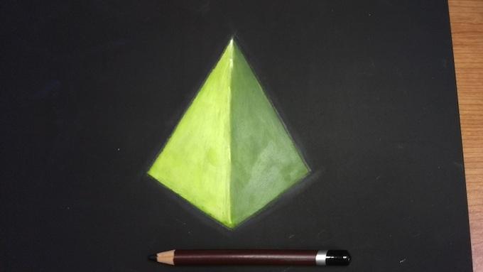色を指でなじませて黒鉛筆で縁取り