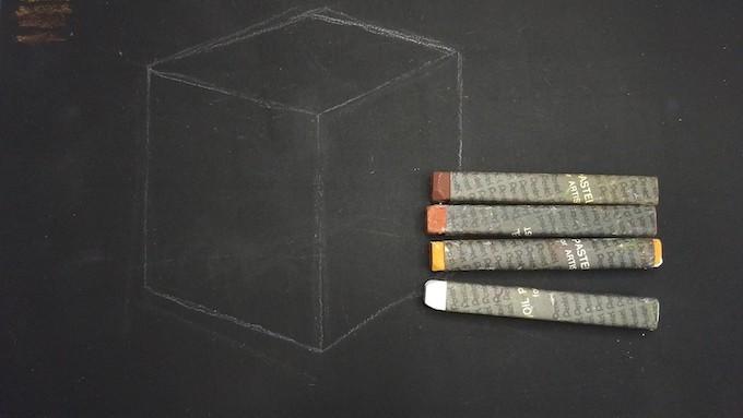 立方体に使用するオイルパステル