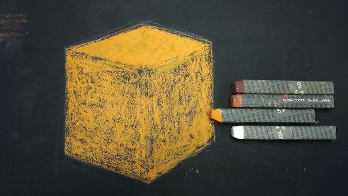 立方体をオイルパステルで着色
