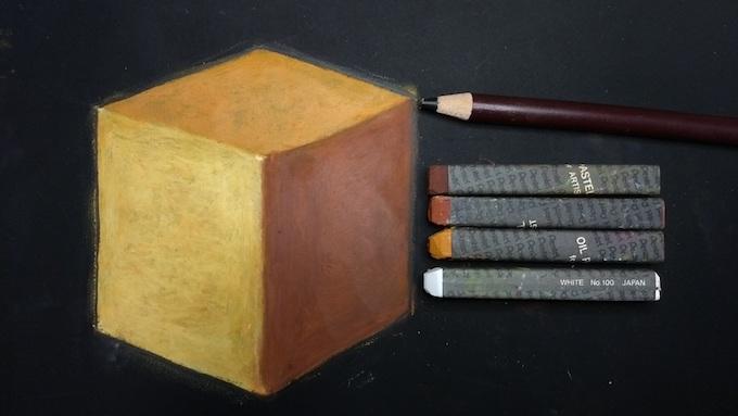 立方体を黒鉛筆で縁取り