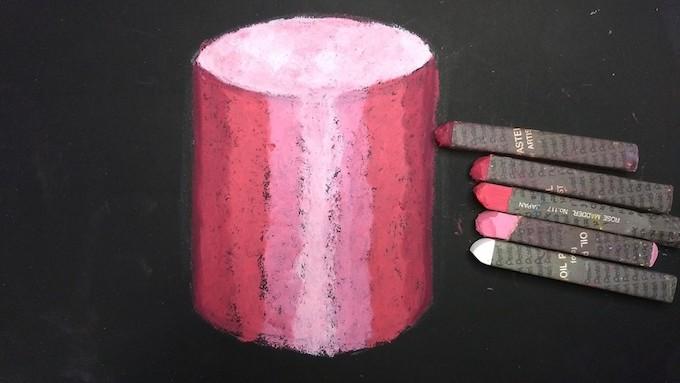 円柱の全体をオイルパステルで着色
