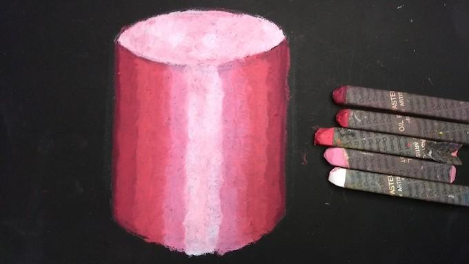 円柱の光と影をオイルパステルで着色