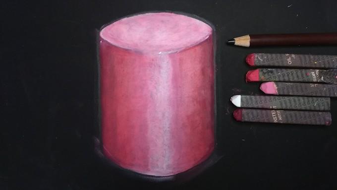 円柱を黒鉛筆で縁取り