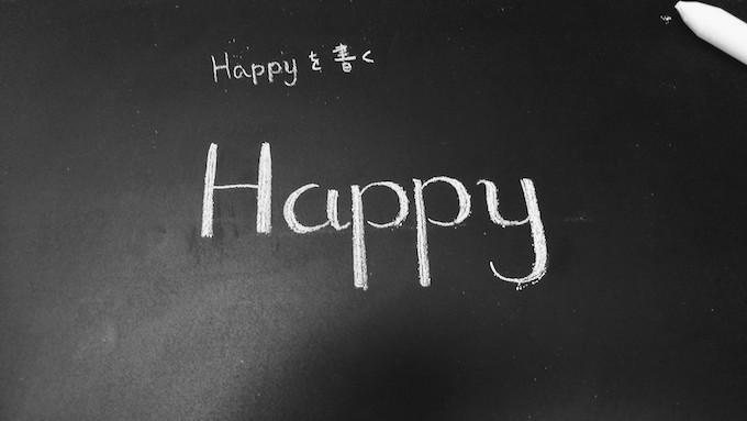 チョークで太く書いた文字 Happy