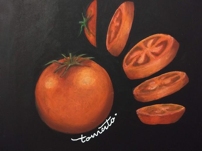 チョークアートでトマト カットトマトの描き方を写真付き解説 Satochalkart チョークアートや黒板にオシャレに手書きイラスト やカフェのメニューの書き方