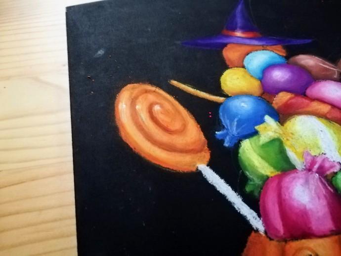 オイルパステルで棒付きキャンディーの着色