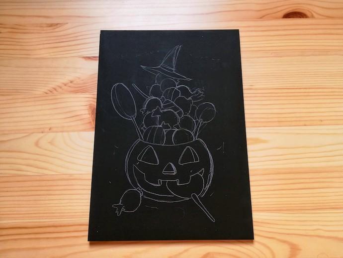 チョークアートで描くハロウィンの下絵
