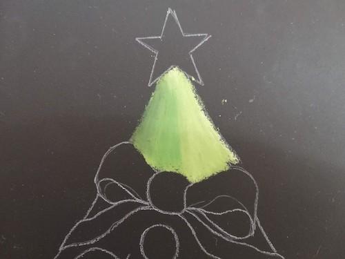 クリスマスツリーを着色しなじませる