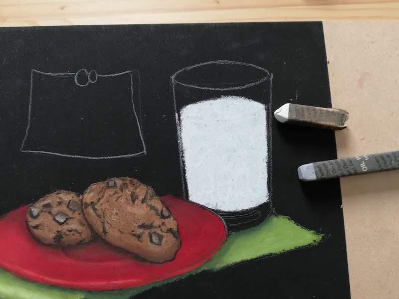 チョークアートでミルクを着色