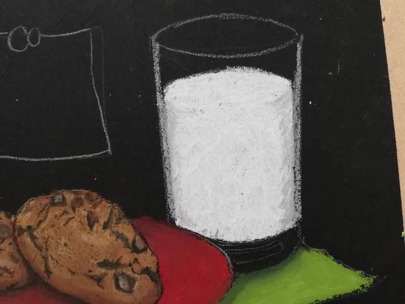 チョークアートでミルクのガラスを表現