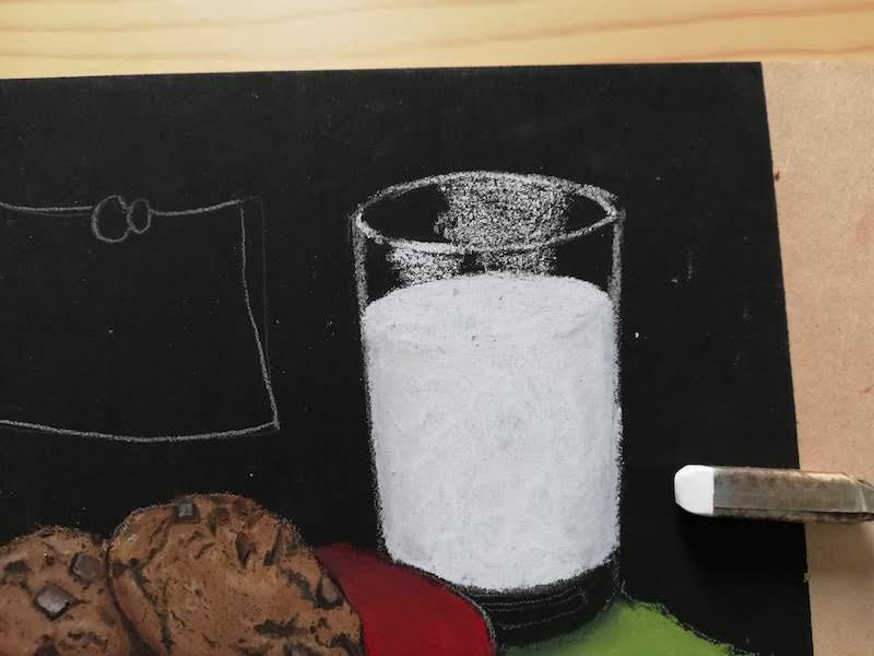 ガラスコップの光の部分を表現