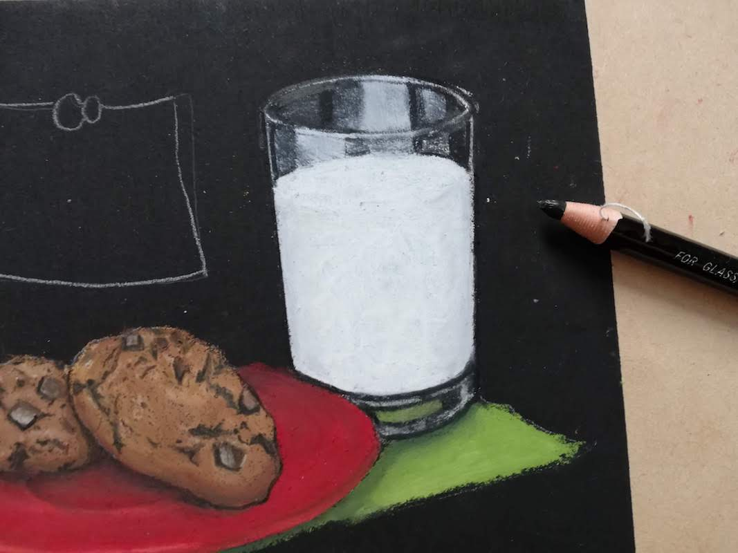 ガラスコップを黒鉛筆で表現