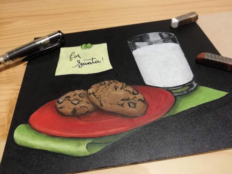 チョークアートでクッキー、ミルク完成