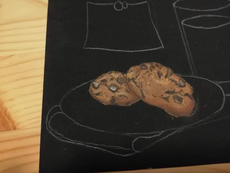 チョークアートでクッキー着色完成
