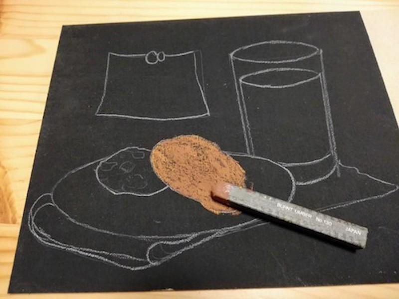 オイルパステルでクッキーの色を重ねる