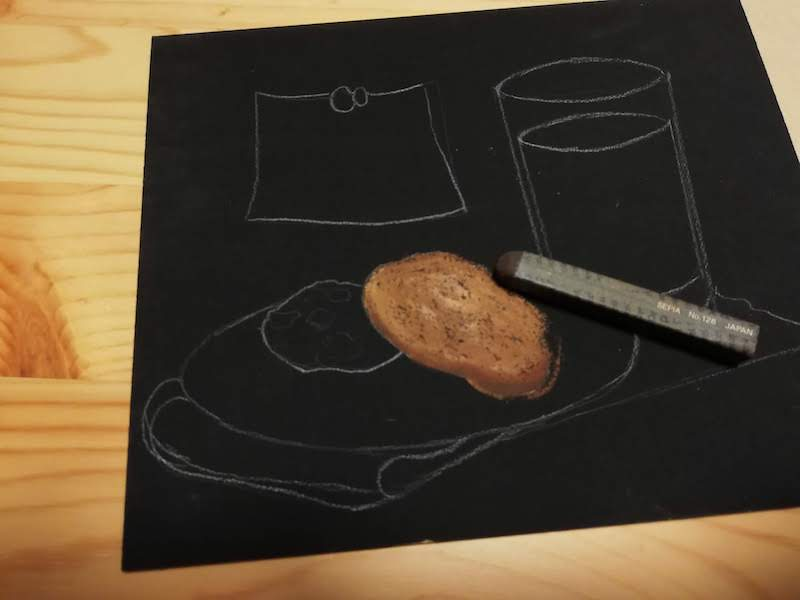 クッキーにオイルパステル でより濃い影を着色