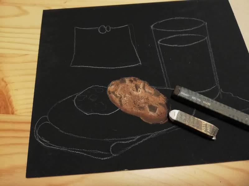 オイルパステル でチョコチップとヒビを表現