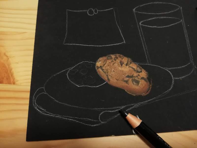 黒鉛筆でクッキーのビビ