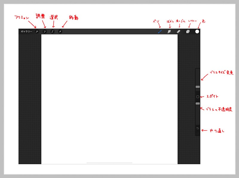 Procreateの操作画面